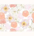 beautiful spring summer line flowers background vector image