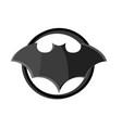 black bat logo in circle on white background vector image