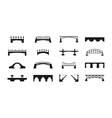 black bridges icons isolated on white urban vector image