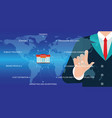 businessman hand touching icon global network vector image vector image