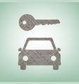 car key simplistic sign brown flax icon vector image vector image