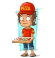 Cartoon delivery man with pizza vector image vector image
