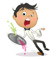 Cartoon waiter slipping and dropping the tray vector image