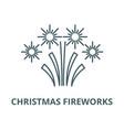 christmas fireworks line icon christmas vector image