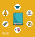 colorful poster of education with book in closeup vector image vector image