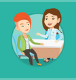 doctor consulting female patient in office vector image vector image