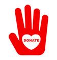donate logo concept vector image vector image