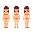 fat thin female character different stages health vector image vector image