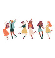 female friends dancing students party holiday vector image vector image