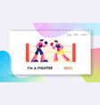 fighting competition website landing page vector image vector image
