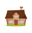 flat icon of small farm house cute vector image