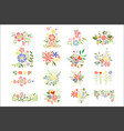 flat set of colorful floral compositions vector image vector image
