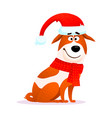 funny cartoon dog flat character russell terrier vector image