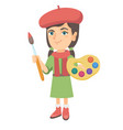 girl dressed as an artist holding brush and paints vector image