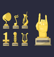 gold rock star trophy music notes best vector image