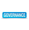 Governance blue 3d realistic square isolated vector image