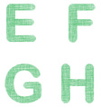 Green fabric font set - letters E F G H