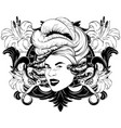 hand drawn pretty woman isolated vector image vector image