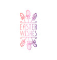 handdrawn typographic easter element on white vector image