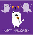 happy halloween spooky frightened cat holding vector image vector image