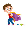 little boy kid going to school with big schoolbag vector image