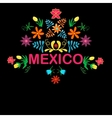 Mexico flowers pattern and elements vector image