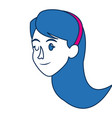 Portrait of blue hair woman character face
