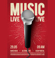 poster with microphone for concert live music vector image vector image
