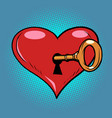 red heart valentine key in lock vector image