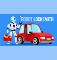 robot locksmith repairing a car isolated vector image