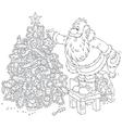 Santa decorates a Christmas tree vector image vector image