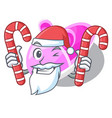 santa with candy baby shoes isolated in the mascot vector image