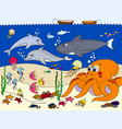 seabed with marine animals for kids vector image