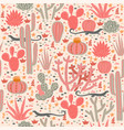 seamless pattern with cacti and lizards graphics vector image