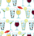 Seamless pattern with cocktails vector image vector image