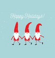 set cute christmas gnomes in funny hats and vector image