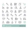 set medical icons linear symbols vector image