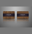 set natural gift cards wooden credit cards vector image vector image