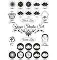 Set of black yoga studio elements vector image