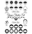 Set of black yoga studio elements vector image vector image