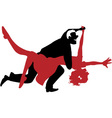 silhouette a couple dancing swing or rock n rol vector image vector image
