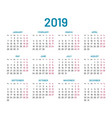 simple wall calendar 2019 year flat isolated vector image vector image
