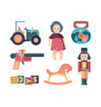 vintage toys happy childhood decorative funny vector image vector image