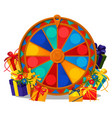 wheel of fortune with gift boxes and flowers vector image