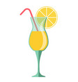 yellow cocktail in glass with lemon slice and vector image vector image