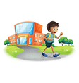 A boy going home from school vector image