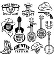 set of country music festival emblems and design vector image