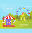 amusement park with ferris wheel and carousel vector image vector image