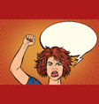 angry protester woman rally resistance freedom vector image