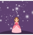 Beautiful cartoon princess on violet background vector image vector image